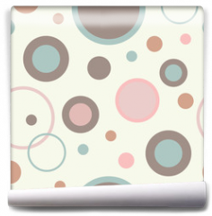 Fototapeta - Seamless vector decorative background with circles, buttons and polka dots. Print. Cloth design, wallpaper.