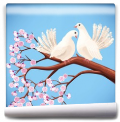 Fototapeta - Two white doves on the branch