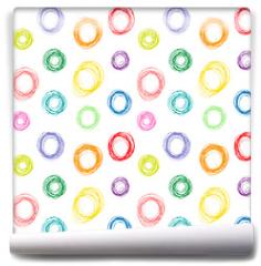 Fototapeta - Hand drawn colorful circles seamless pattern, vector illustration