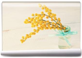 Fototapeta - Soft yellow acacia in little decor vase.