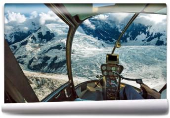 Fototapeta - Helicopter cockpit flying. Spectacular glaciers of Denali National Park, Alaska, United States.