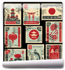 Fototapeta - set of postage stamps on the theme of Japanese culture. Hieroglyph Japan Post, Sushi, Tea