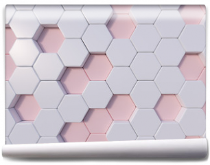 Fototapeta - Rose Quartz  abstract 3d hexagon background bee hive