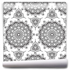Fototapeta - Background with black and white mehndi henna seamless lace buta decoration items on white background in Indian style.