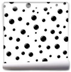 Fototapeta - Bubbles geometric seamless pattern. Black circles on white background. Fashion graphic design. Modern stylish abstract texture. Template for prints, textiles, wrapping, wallpaper. VECTOR illustration.