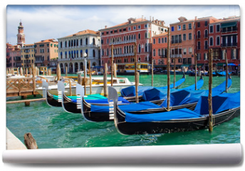 Fototapeta - beautiful gondolas anchored in Venice, Italy