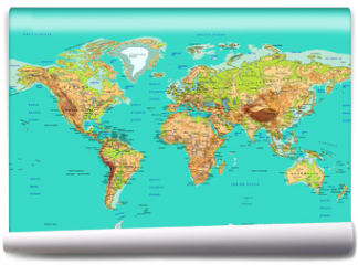 Fototapeta - Map of the World, vector illustration. Names and borders on separate layer.