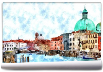 Fototapeta - Abstract watercolor digital generated painting of the main water canal, houses and gondolas in Venice, Italy.