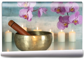 Fototapeta - Klangschale mit Orchideenblüten und Kerzen
