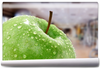 Fototapeta - Apfel mit Fitnessstudio Hintergund