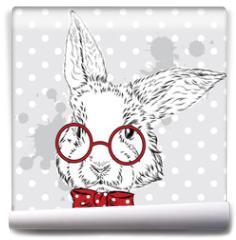 Fototapeta - Rabbit vector . Hand drawing of the animal. Print . Hipster. Watercolor Bunny . Vintage postcard.