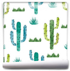 Fototapeta - Watercolor cactus seamless pattern. Vector background with green and blue cactus isolated on white.