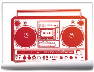 Fototapeta - Vector illustration of vintage boombox