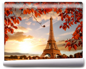 Fototapeta - Eiffel Tower with autumn leaves in Paris, France