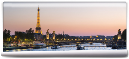 Fototapeta - Paris, traffic on the Seine river at sunset, with Eiffel tower i