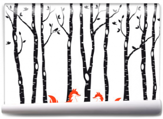 Fototapeta - Cute foxes with birch trees, vector
