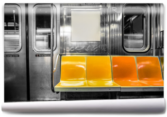 Fototapeta - New York City subway car interior with colorful seats