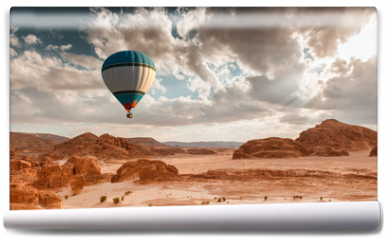 Fototapeta - Hot Air Balloon travel over desert