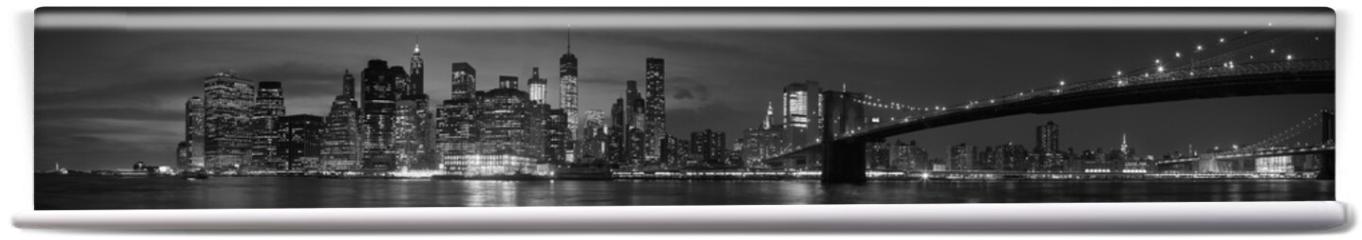 Fototapeta - New York city with Brooklyn Bridge, iconic skyline panorama at night in black and white