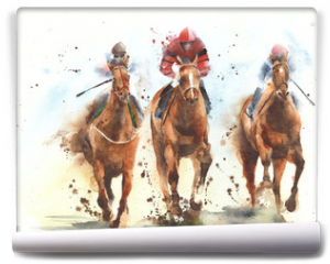 Fototapeta - Horse racing race riding sport jockeys competition horses running watercolor painting illustration