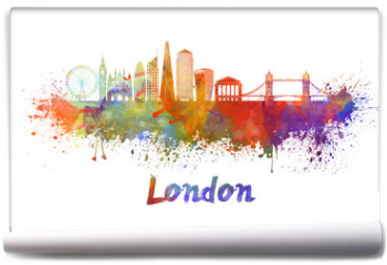 Fototapeta - London V2 skyline in watercolor splatters with clipping path
