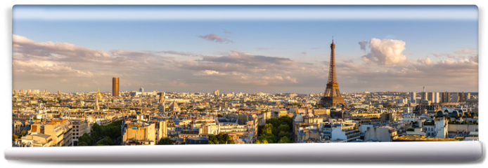 Fototapeta - Panoramic summer view of Paris rooftops at sunset with the Eiffel Tower. 16th Arrondissement, Paris, France