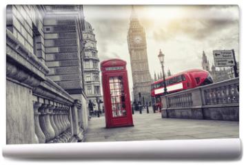 Fototapeta - phone box and big ben, london, uk