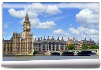 Fototapeta - Big Ben clock tower, also known as Elizabeth Tower is near Westminster Palace and Houses of Parliament on the Thames River in London has become a symbol of England and Brexit discussions