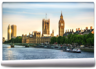 Fototapeta - Big Ben and Westminster parliament in London, United Kingdom with sun reflection