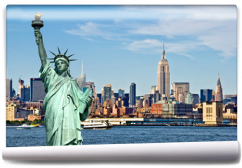 Fototapeta - New York skyline and the Statue of Liberty, New York City collage, travel and tourism postcard concept, USA