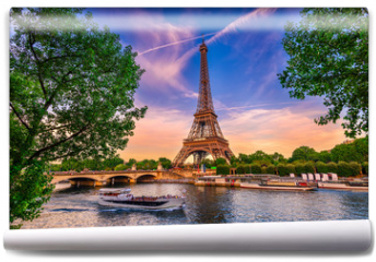Fototapeta - Paris Eiffel Tower and river Seine at sunset in Paris, France. Eiffel Tower is one of the most iconic landmarks of Paris.
