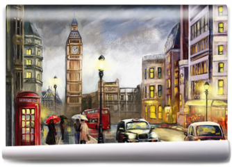 Fototapeta - oil painting on canvas, street view of london. Artwork. Big ben. couple and red umbrella, bus and road, telephone. Black car - taxi. England