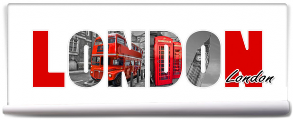 Fototapeta - London letters, isolated on white background, travel and tourism in UK concept