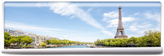Fototapeta - Landscape panoramic view on the Eiffel tower and Seine river during the sunny day in Paris
