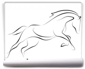 Fototapeta - Running black line horse on white background. Vector graphic.