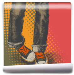 Fototapeta - background with jeans and sneakers
