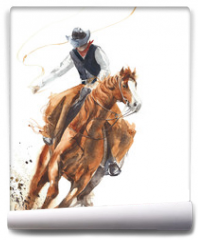 Fototapeta - Cowboy riding a horse ride calf roping watercolor painting illustration isolated on white background