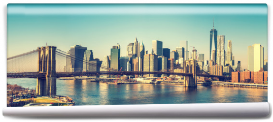 Fototapeta - Brooklyn bridge and Manhattan at sunny day, New York City