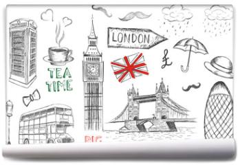 Fototapeta - Set of England symbols.