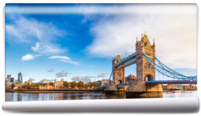 Fototapeta - London cityscape panorama with River Thames Tower Bridge and Tower of London in the morning light