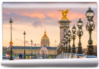 Fototapeta - The Alexander III Bridge across Seine river in Paris