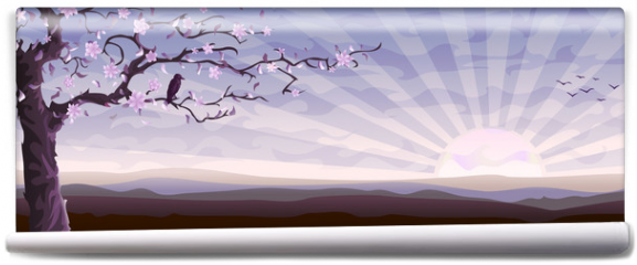 Fototapeta - Blooming tree and a starling