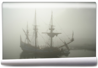 Fototapeta - old sailship (pirate?) in the fog