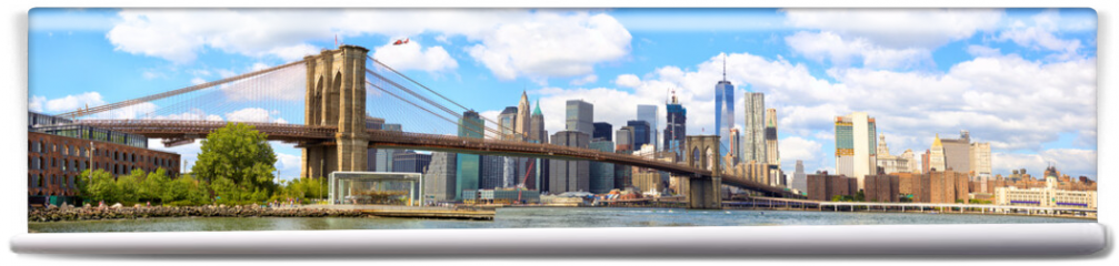 Fototapeta - New York City Brooklyn Bridge panorama with Manhattan skyline
