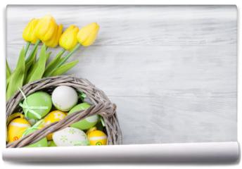 Fototapeta - Easter eggs and tulip flowers