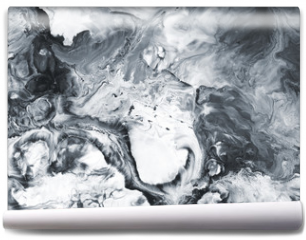Fototapeta - Black and white marble abstract hand painted background