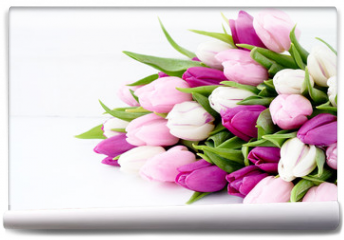 Fototapeta - White and pink tulips on white wooden table. Holiday background, copy space