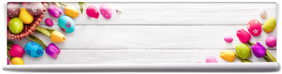 Fototapeta - Easter Eggs with Flowers on White Wooden Background