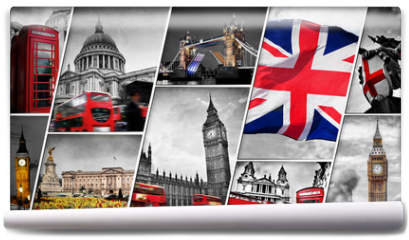 Fototapeta - Collage of the symbols of London, the UK