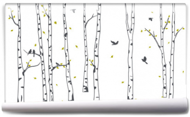 Fototapeta - Birch Tree with deer and birds Silhouette Background